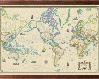 Framed world map etsy world modern day as antique giclee canvas wall map framed walnut gumiabroncs Images