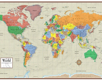 World Map Travel Pins.24x36 World Contemporary Elite Wall Map Poster Foam Cork Board Etsy