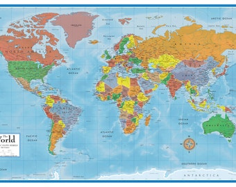 World map wall mural etsy swiftmaps world classic premier wall map mural wall art decor for home or office geography travel decoration accent or push pins gumiabroncs Gallery