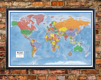24x36 world contemporary elite wall map poster foam cork board 24x36 world classic premier 3d wall map poster foam cork board mounted and laminated push pin travel map with 100 free push pins gumiabroncs Choice Image