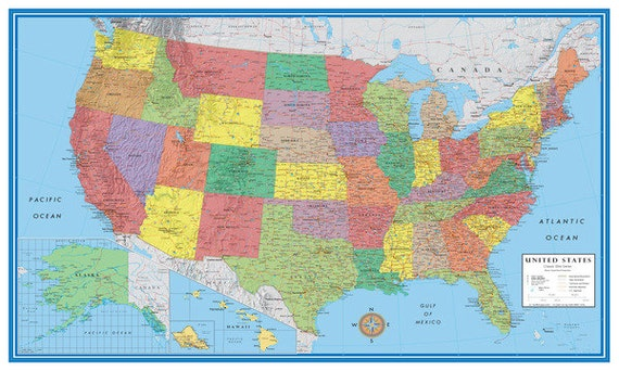 Classic Elite United States Usa Us Wall Map Poster Mural Etsy