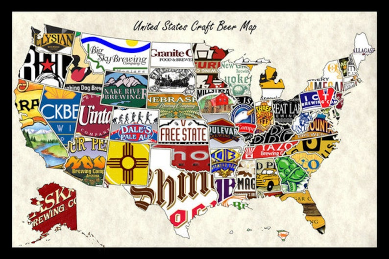 Man In The United States Map.United States Usa Us Craft Beer Brands Wall Map Poster Decor Etsy
