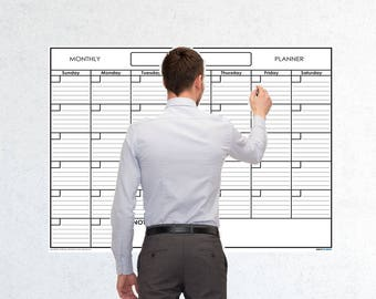 Large Monthly Wet & Dry Erase Blank Reusable Undated Wall Calendar Planner for Office Academic Home 1-Month Project Calendar by SwiftGlimpse