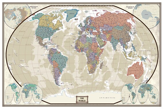 Latest World Map.Swiftmaps World Modern Day Antique Wall Map Poster Mural Wall Etsy