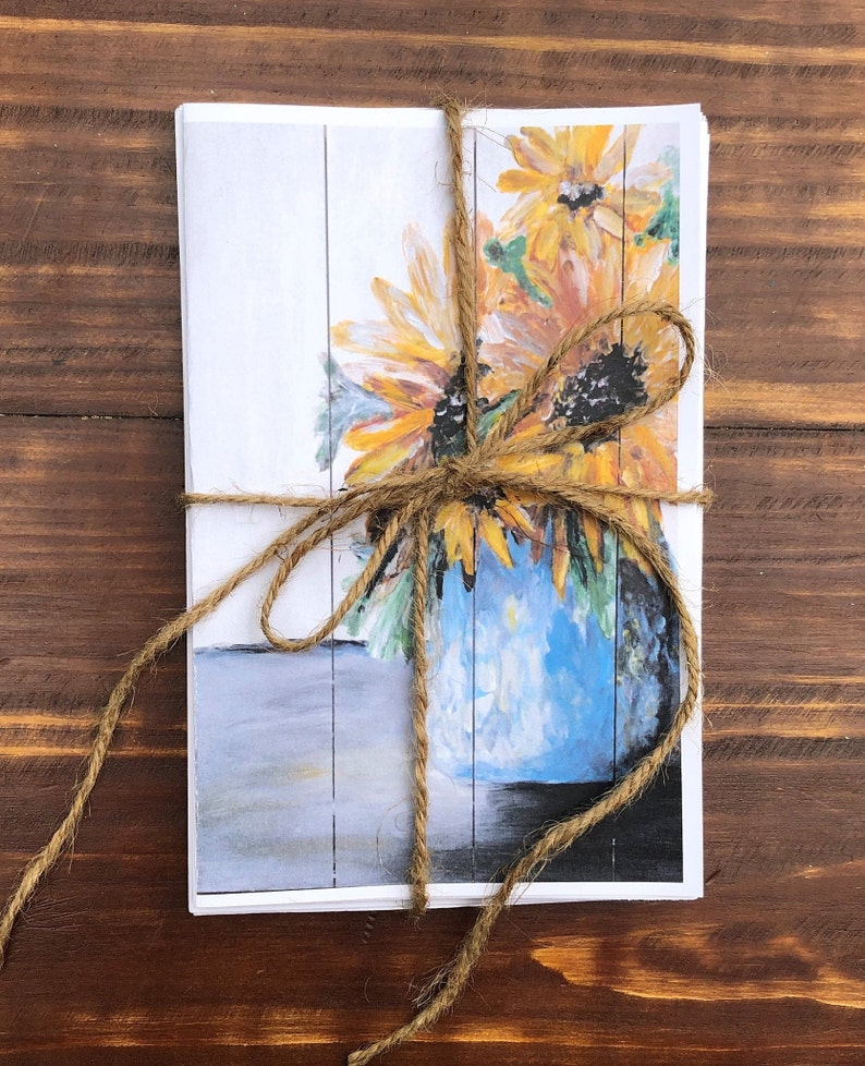 Stationery Set of 4 or 8 Note Cards Envelopes Included 5-12 x 8-12 ACRYLIC PAINTING Autumn Floral Cards