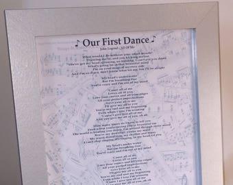 Modern First Dance Song Lyrics Metal Sign Wall Art Print