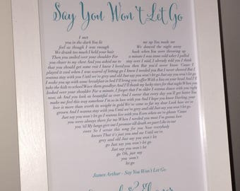 Song lyric art etsy personalised song lyrics print heart shape first dance wedding anniversary any song framed and un framed prints stopboris Gallery