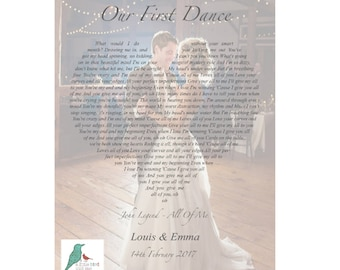 Personalised photograph song lyrics print - heart shape - First Dance / Wedding / Anniversary  Any Song! Framed and Un-Framed prints