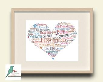 PERSONALISED HEART WORDART CARD Birthdays Wedding Anniversay Retirement Bespoke