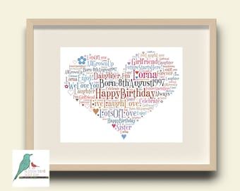 Personalised Birthday Heart Word Art Quote Poster A6-A0 Family Custom Picture