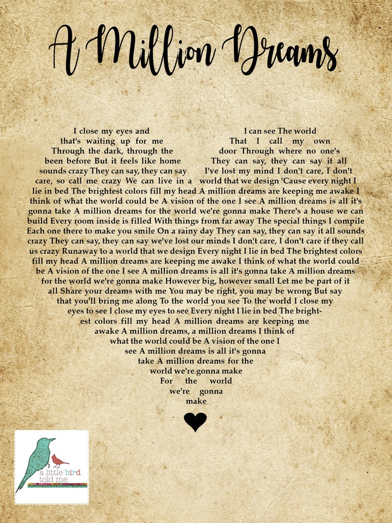 image regarding A Million Dreams Lyrics Printable called A Million Desires - The Major Showman Tune lyrics print - center condition Basic - Reward / Wedding ceremony / Take pleasure in / Valentines / Wall Artwork