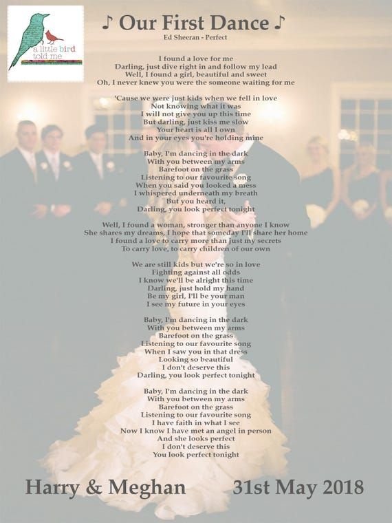 First Dance Photograph Background Personalised Song Lyrics Print First Dance Wedding Anniversary Any Song Framed And Un Framed Prints