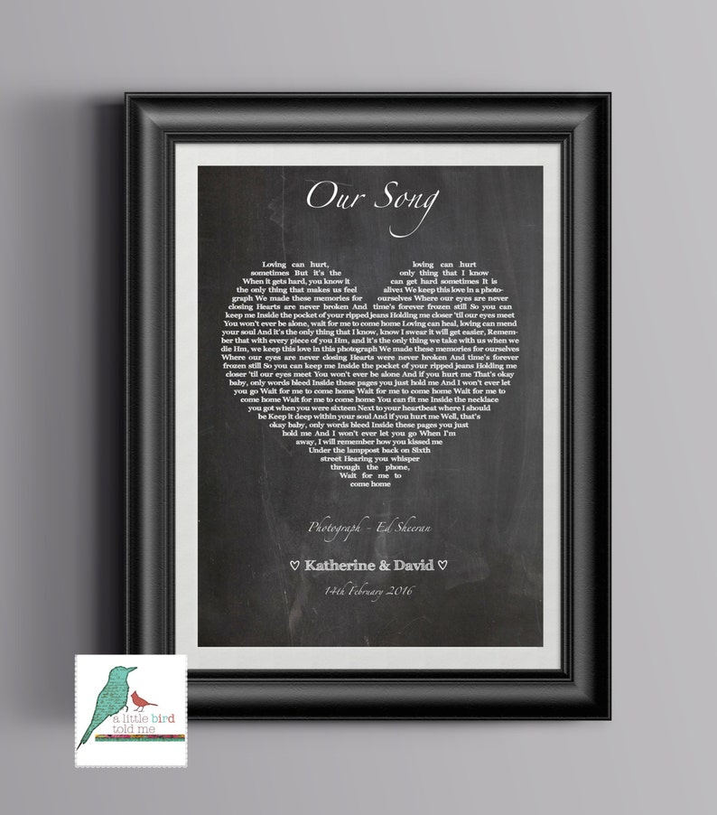Personalised song lyrics print - heart shape chalkboard effect design - You  choose the song! Framed / Un-Framed prints