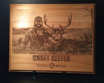 Personalized Engraved Wooden Plaque with Hunting Photo