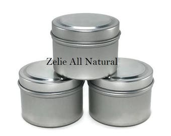 Seamless 8oz Tin Containers for Homemade Candle, Great Storage for Miscellaneous Items, Travel Sizes Containers, Set of three (3) Containers