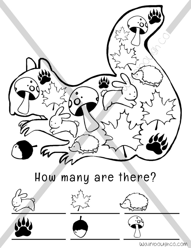 photo relating to Seek and Find Printable referred to as Counting and Coloring Printable Sport Website page, Seek out and Locate Youngsters and Child Woodland Mother nature Squirrel Sport