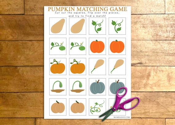 Pumpkin Matching Game Printable Memory Game Fall Activity