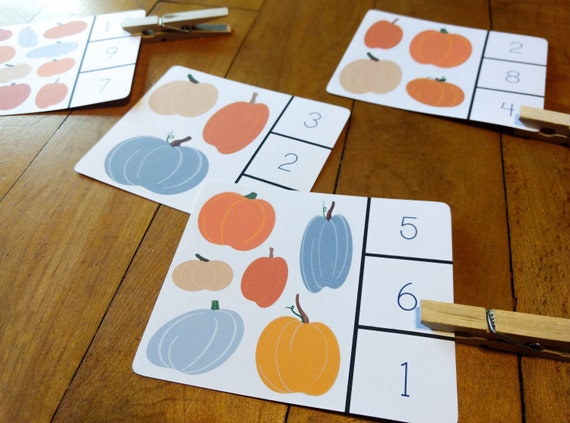 Pumpkin Counting Printable Flash Card Game Clothespin Match