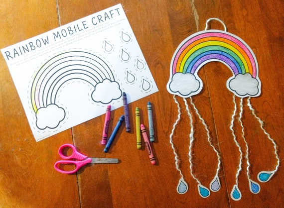Rainbow Mobile Printable Craft Indoor Preschool Activity
