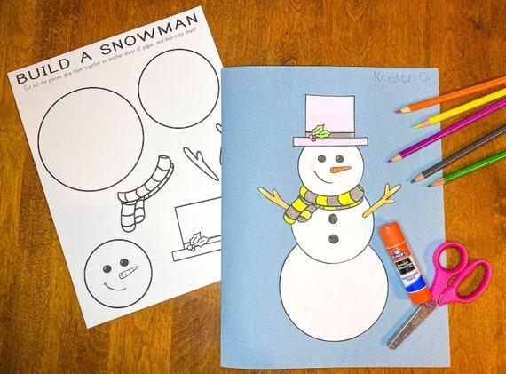 Snowman Printable Craft Indoor Preschool Activity Kids