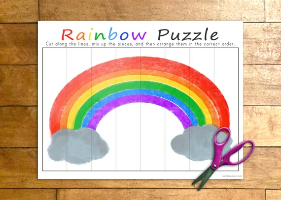 Rainbow Puzzle Printable Game Weather Activity for Kids