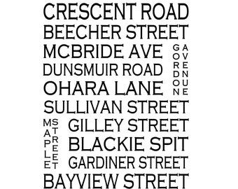 Crescent Beach B.C. - Love This Place Street Name Art Print on Paper - Customize With Your Street - Vancouver Home Decor TheJitterbugShop