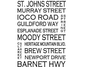 Port Moody B.C. -- Love This Place Street Name Art Print on Paper - Customize With Your Street - Vancouver Home Decor TheJitterbugShop