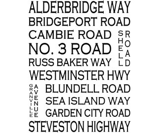 Richmond B.C. - Love This Place Street Name Art Print on Paper - Customize With Your Street - Vancouver Home Decor TheJitterbugShop