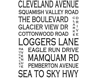 Squamish BC - Love This Place Street Name Art Print on Paper - Customize With Your Street - Vancouver Home Decor TheJitterbugShop