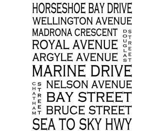 Art Print on Paper Horseshoe Bay BC Canada Bus Roll Street Name - Various Sizes - Decor Art Custom Available