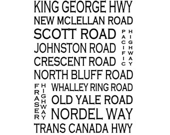 Surrey B.C.  - Love This Place Street Name Art Print on Paper - Customize With Your Street - Vancouver Home Decor TheJitterbugShop