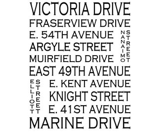 Fraserview Vancouver B.C. - Love This Place Street Name Art Print on Paper - Customize With Your Street - Home Decor TheJitterbugShop