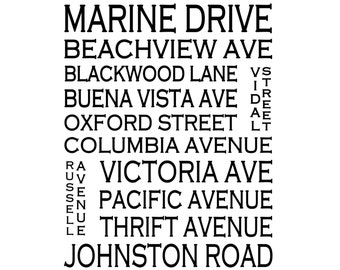 White Rock B.C. - Love This Place Street Name Art Print on Paper - Customize With Your Street - Vancouver Home Decor The Jitterbug Shop