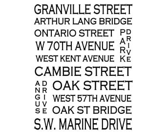 Marpole Vancouver B.C. - - Love This Place Street Name Art Print on Paper - Customize With Your Street - Home Decor TheJitterbugShop