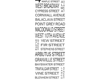 """Kitsilano Vancouver B.C. - Long 12"""" x 36"""" - Love This Place Street Name Art Print on Paper - Customize With Your Street - Home Decor"""