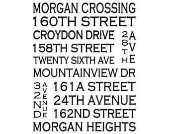 Morgan Heights / Morgan Crossing South Surrey B.C. - Love This Place Street Name Art Print on Paper - Customize With Your Street -Home Decor