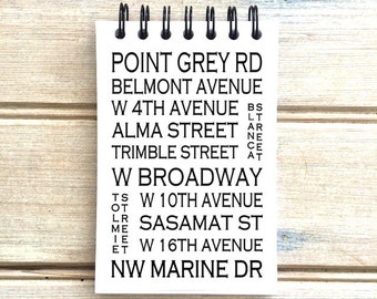 Point Grey Vancouver, B.C. - Love This Place - Street Name Notebook - Busroll Notepad Journal Custom Gift - Canada