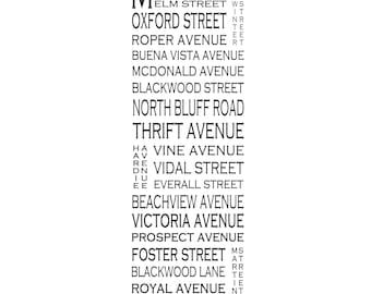 """White Rock B.C. - West Beach - Long 12"""" x 36"""" Love This Place Street Name Art Print on Paper - Customize With Your Street - Vancouver"""