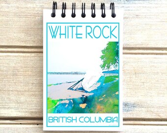 White Rock Beach - Love This Place - Cityscape Notebook - Vancouver B.C. Canada - Notepad Custom Gift - The Jitterbug Shop Journal