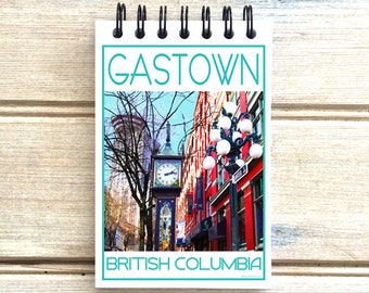 Gastown Steam Clock Vancouver B.C. - Love This Place - Cityscape Notebook - Canada - Notepad Custom Gift - The Jitterbug Shop