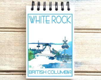White Rock Pier - Love This Place - Cityscape Notebook - Vancouver B.C. Canada  - Notepad Custom Gift - The Jitterbug Shop Journal