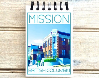Mission B.C. - Love This Place - Cityscape Notebook - Vancouver Canada - Notepad Custom Gift - The Jitterbug Shop