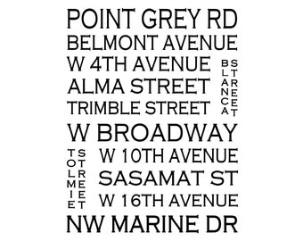 Point Grey Vancouver - Love This Place Street Name Art Print on Paper - Customize With Your Street - Home Decor TheJitterbugShop