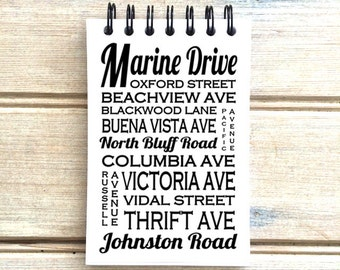 White Rock B.C. - Love This Place - Mixed Font - Street Name Notebook - Busroll Notepad Journal Custom Gift - Vancouver Canada
