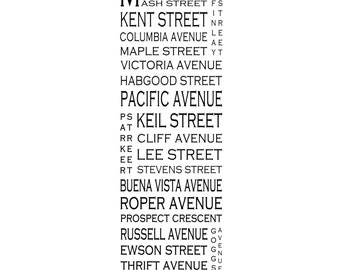 """White Rock B.C. - East Beach - Long 12"""" x 36"""" Love This Place Street Name Art Print on Paper - Customize With Your Street - Vancouver"""