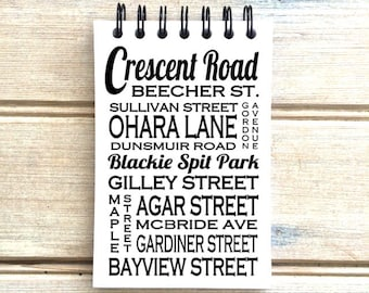 Crescent Beach B.C. B- Love This Place - Street Name Notebook w Mixed Font - Busroll Notepad Journal Custom Gift - Vancouver Canada