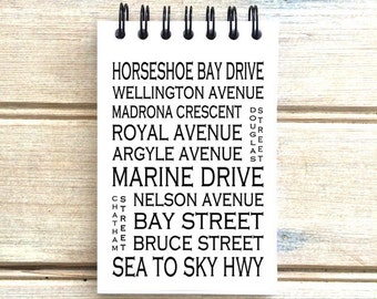 Horseshoe Bay BC - Love This Place - Street Name Notebook - Busroll Notepad Journal Custom Gift - Vancouver Canada