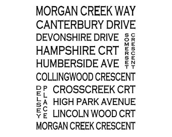 Morgan Creek South Surrey B.C. - Love This Place Street Name Art Print on Paper - Customize With Your Street - Vancouver Surrey White Rock