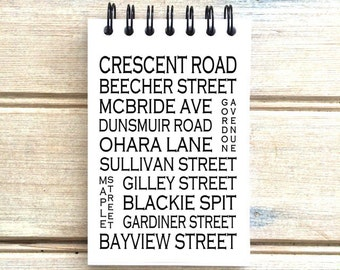 Crescent Beach B.C. - Love This Place - Street Name Notebook - Busroll Notepad Journal Custom Gift - Vancouver Canada