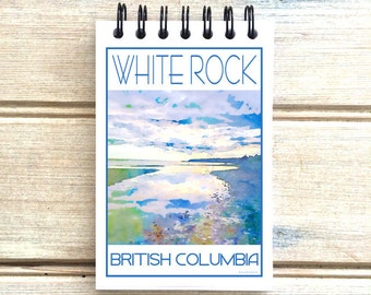 White Rock B.C. - Love This Place - Cityscape Notebook - Vancouver Notepad Custom Gift - Canada - The Jitterbug Shop